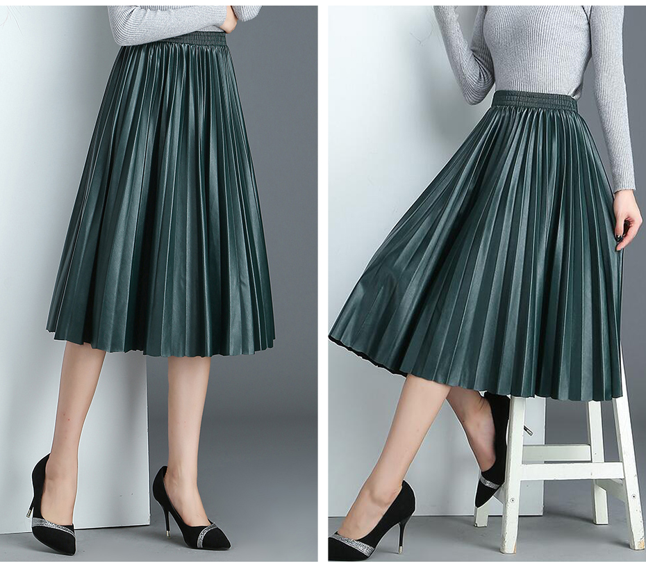 2018 11 11 PU Accordion Pleated Skirt Autumn & Winter New Style Leather Skirt High Waist Faldas Largas Elegantes Free Shipping 17