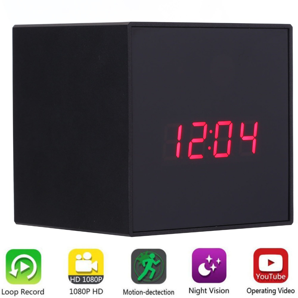 1080P WIFI Mini Camera Time Alarm Wireless Clock P2P Security Night Vision Motion Detection Home Security Wireless Camera цена
