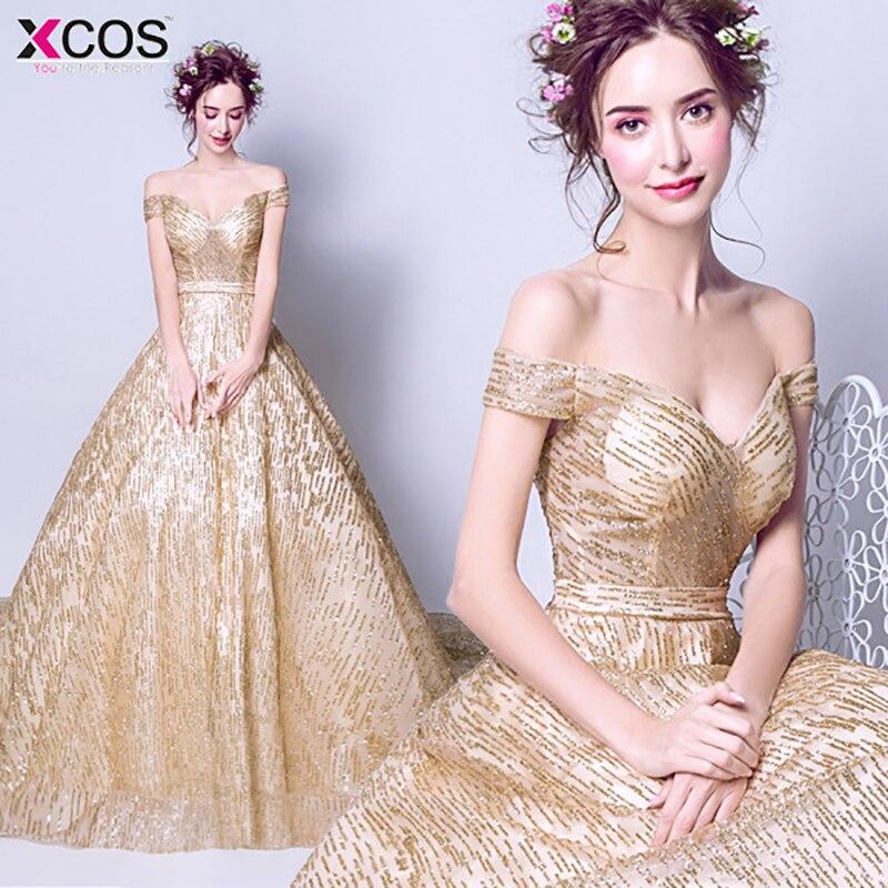 Sparkle Gold Sequined Prom Dresses 2018 Cheap Off Shoulder Floor