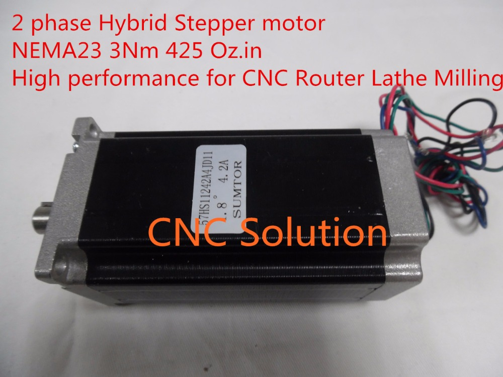 ФОТО Nema23 Stepper Motor 3Nm 425oz.in 2 Phase 4 wire 4.2A L112mm for CNC Router 3D Printer New