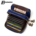 BOSTANTEN Mini Genuine Leather Wallet Bank/Name Card Holder Double Zipper Credit Card Holders Women Men ID Card Case Purses Bag