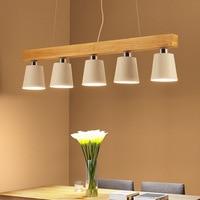 Обеденная древесины подвесной светильник E27 держатель подвесной светильник гладить абажур творческий современный ресторан Кухня остров о