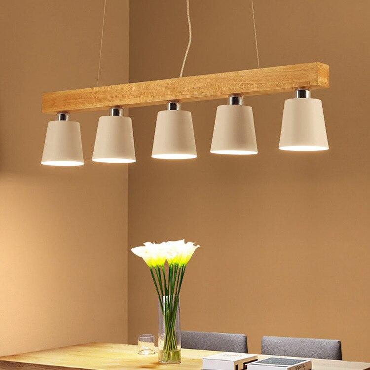 Salle à manger bois suspension lumière E27 titulaire suspension lampe fer abat-jour créatif moderne Restaurant cuisine île éclairage