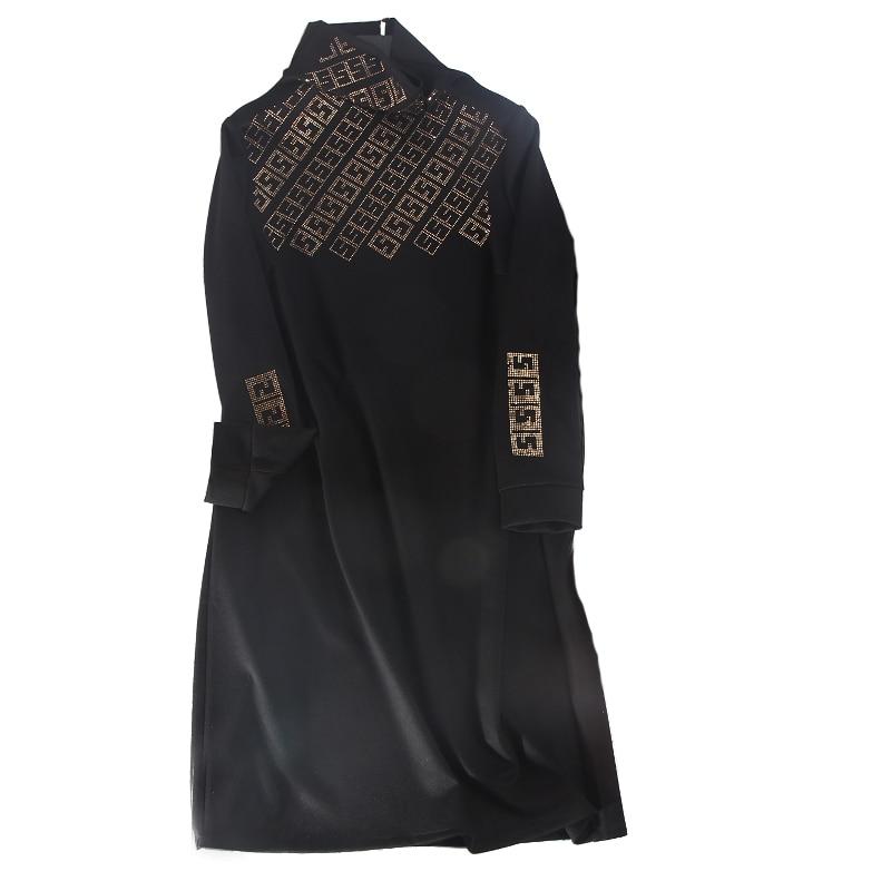 L Samgpilee Hiver 2018 3xl Genou A Diamants Nouveau Solide Black Col red Casual Robes longueur Plein Femmes Roulé ligne Naturel Manches Mode SrSnpwWxq