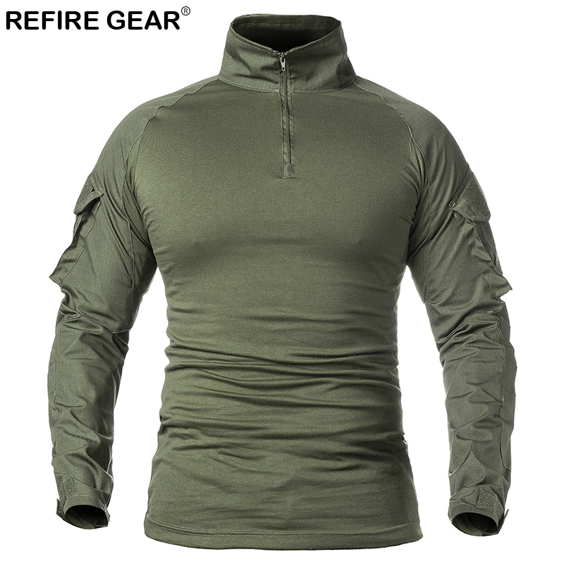 Refire Gear Spring Autumn Sports Outdoor T-shirt Long Sleeve Tactical Military Army Shirts Man Hunting Climbing Breathable Shirt