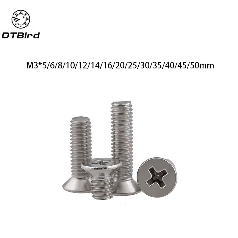 100pcs GB819 Metric Thread M3 304 Stainless Steel flat head cross Countersunk head screw m3*(5/6/8/10/12/14/16/20/25/30/35/40) high quality 50pcs m3 stainless steel round pan head machine screw m3 3 4 5 6 8 10 12 14 16 18 20 25 30 40 50 60 70 mm din7985