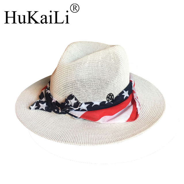 Summer hat Sir Hollow out white hat double black label printing ribbon  sunhat sunscreen hats for men and women 51c155eaec7