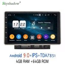 """Ips HD 10,"""" Android 9,0 4 Гб+ 64 Гб 8 ядерный автомобильный dvd-плеер gps ГЛОНАСС карта RDS радио wifi Bluetooth 4,2 Регулируемый для универсального"""