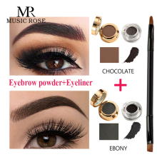 MUSIC ROSE 2 Colors/set Eye Cream Cosmetic Waterproof Eyebrow Tint Black & Brow Gel Pencil Makeup Enhancers