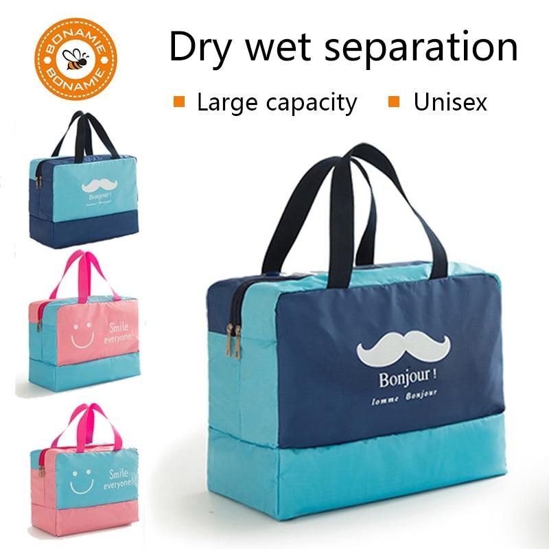 BONAMIE Waterproof Beach Storage Bags Dry Wet Isolation Travel Practical Cosmetic Bag Large Capacity Smile Printing Beach Bag