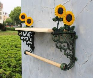 Country Sunflower Wrought Iron Towel Rack With Shelf Bath Accessories Towel  Holder Free Shipping Cast Iron