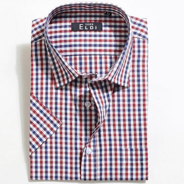 Летняя мода мужчины работают случайные короткими рукавами fit клетчатые рубашки мужчины