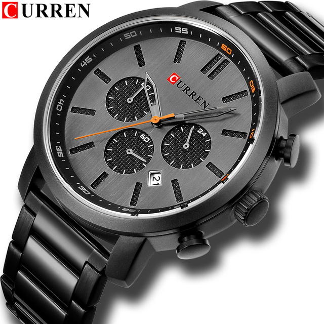 CURREN Casual Quartz Analog Mens Watch Fashion Sport Wristwatch Chronograph Stainless Steel band Male Clock Relogio Masculino