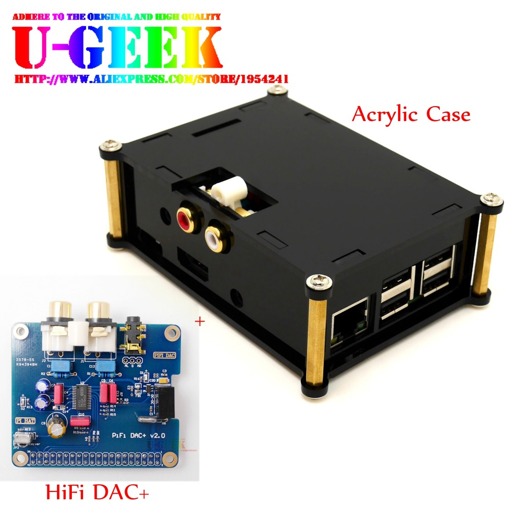 цена на UGEEK AOIDE Raspberry Pi I2S Interface HIFI DAC+ Audio Sound Card module +Black Acrylic Case For Raspberry PI 3B/2B/B+