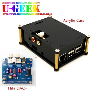 UGEEK AOIDE Raspberry Pi I2S Interface HIFI DAC+ Audio Sound Card module +Black Acrylic Case For Raspberry PI 3B+/3B/2B/B+ decoder board pcm5102 gy pcm5102 i2s interface speaker audio sound card amplifier module dac player for raspberry pi