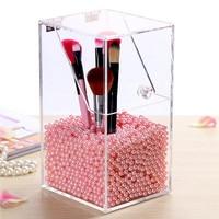 Crystal Acrylic Makeup Brush Organizer Cosmetic Storage Box Makeup Tool Flashing Pencil Holder Lipstick Organizer Cosmetic