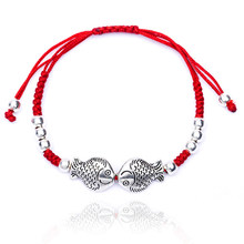 Fashion Two Fish Hamsa Evil Eye Charm Red String Rope Braided Thread Heart Bracelets For Women Men Lover Couple Mom Gift Jewelry(China)