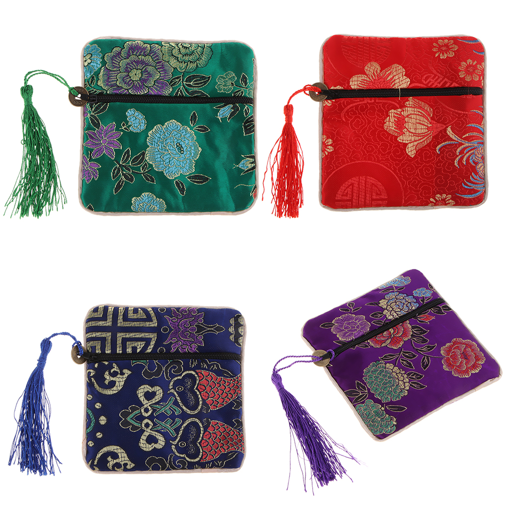 Vintage Guzheng Nail Tape Bag Pouch Chinese Element Silk Brocade Purse With Tassel Decor