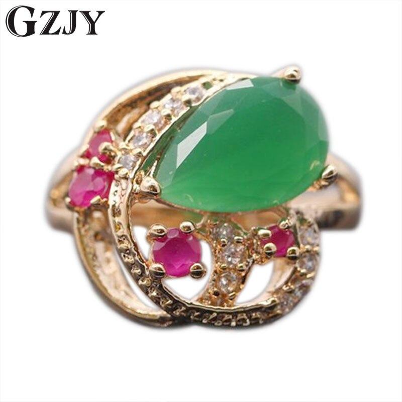 GZJY טבעת וינטג 'תכשיטי אופנה לנשים ציפוי זהב פסיפס אדום מסיבת אירוסין אביזרי AAA מעוקב זירקון קריסטל ירוק