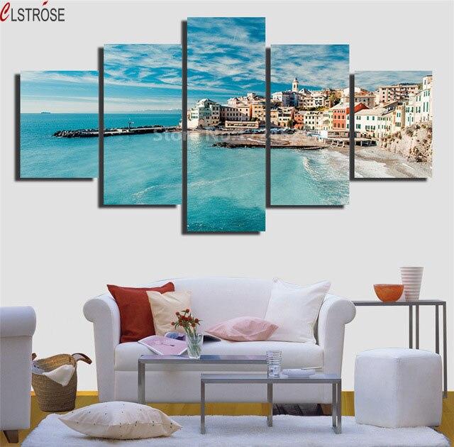Clstrose 5 Pcs Image Region Italie Toile Peinture Belle Peintures Mur Art Home Decor Pour Le
