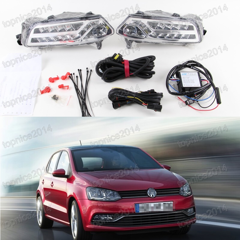 2pcs LED Daytime Running Light DRL with turning lamps fog driving lamp with wiring harness For New VW Polo 2014-2015