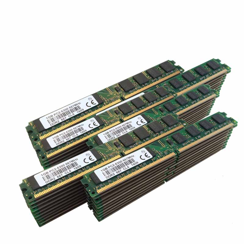NEW 50X1GB 1GB PC2-5300 DDR2 667 667Mhz 240pin DIMM Dekstop Memory DDR2 Low Density RAM Free shipping