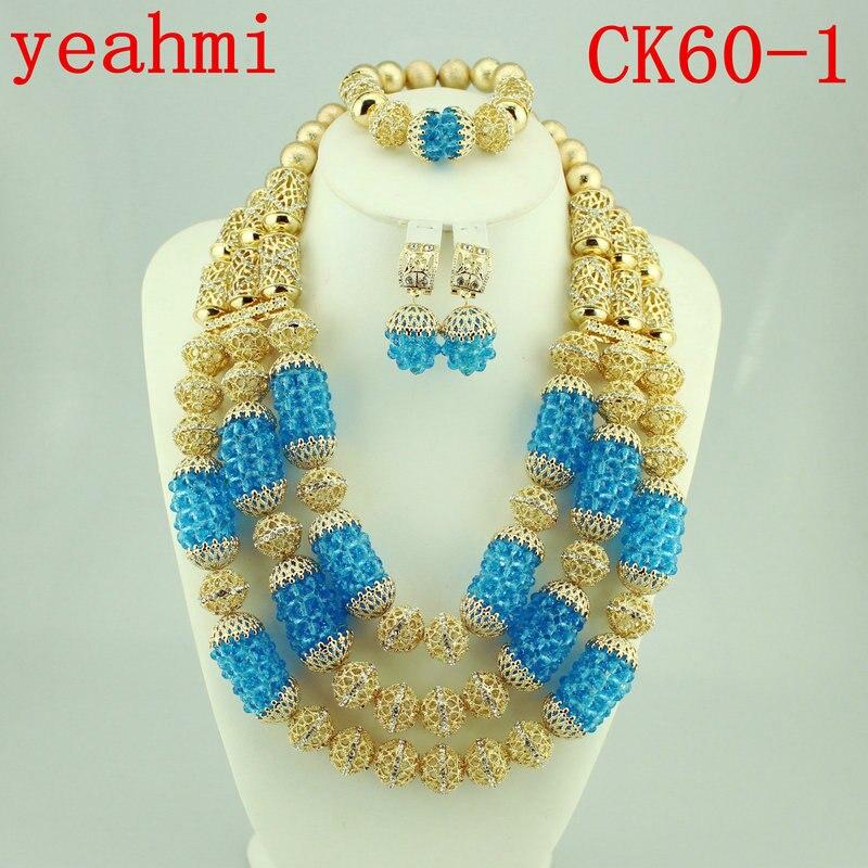 African Beads Jewelry Set Crystal Bride Nigerian Wedding Women Costume Jewellery Set 2018 Free Shipping CK60-1