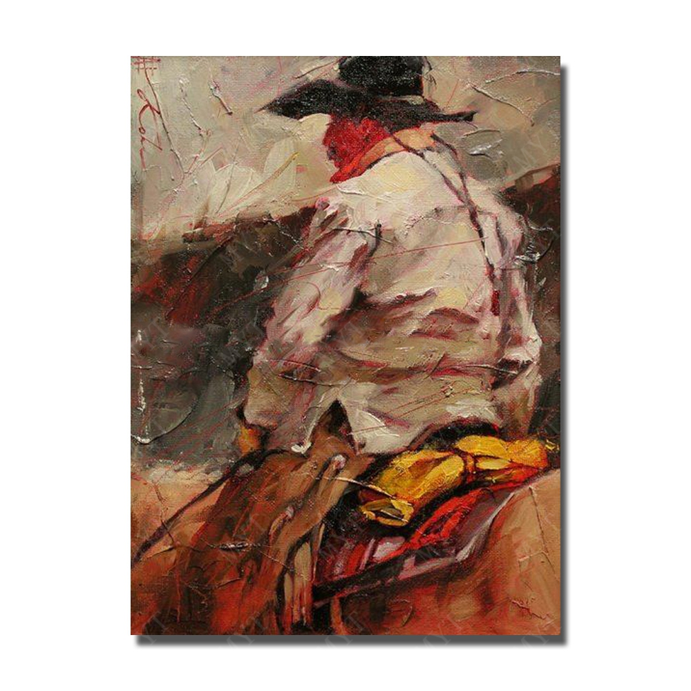 The Man Ride Horse Painting on Canvas Hand Painted Oil Painting Modern Living Room Decoration Canvas
