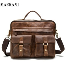 Briefcases marrant crazy horse tote crossbody laptop handbags genuine casual travel