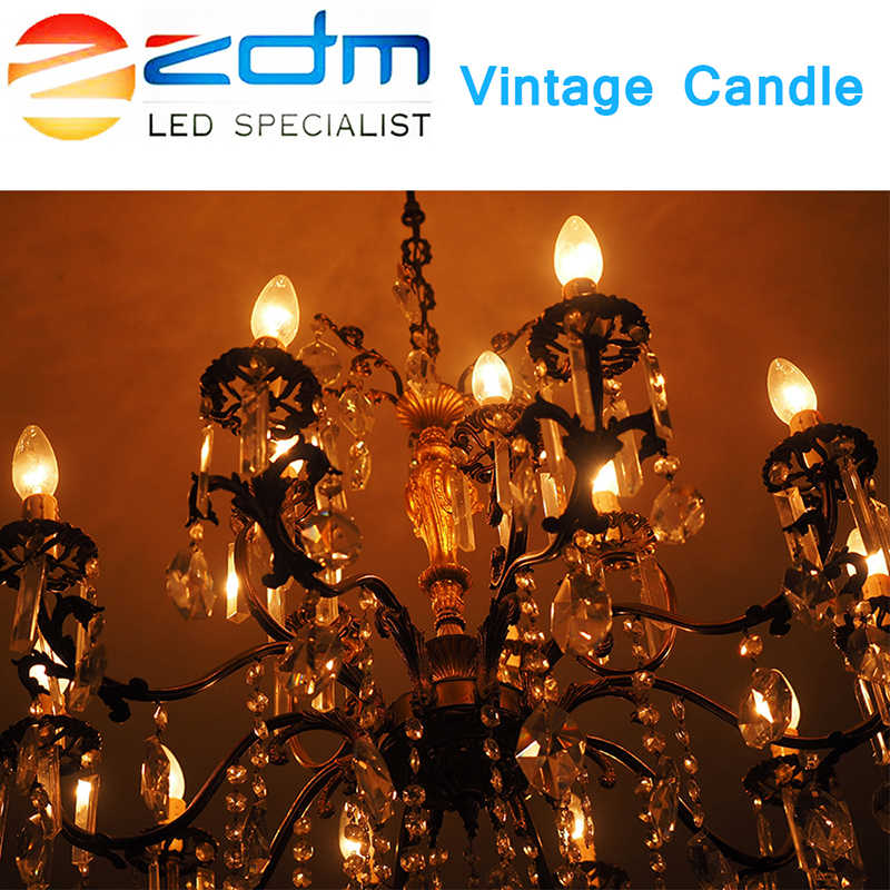Светодиодный светильник E14, светодиодный светильник в форме свечи, люстра, 220 В, E27, светодиодный светильник накаливания, винтажная лампа накаливания, сменная лампа накаливания 20 Вт, 30 Вт, 40 Вт