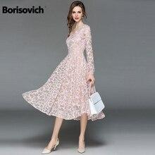 Borisovich Women Casual Lace Dress New 2018 Autumn Fashion Long Sleeve V-neck Elegant Slim A-line Women's Party Dresses M699