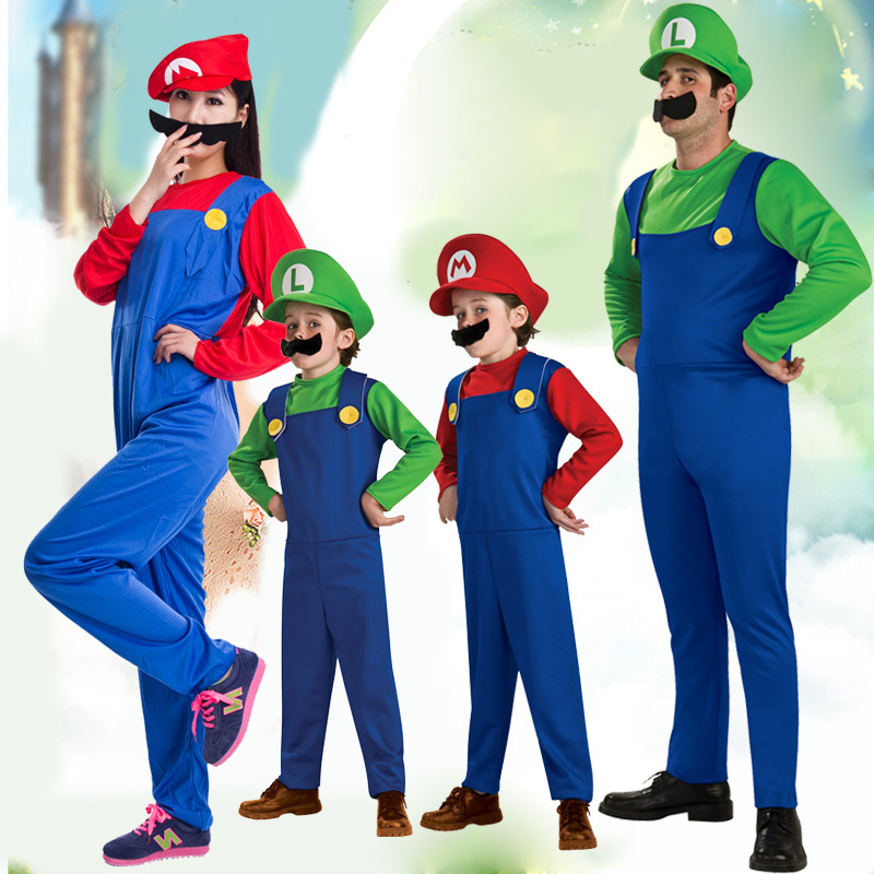 Family matching Funy Halloween Cosplay Costume Super Mario Luigi Brothers Fancy Dress Up Party Cute Costume For Adult Children-in Matching Family Outfits ...  sc 1 st  AliExpress.com & Family matching Funy Halloween Cosplay Costume Super Mario Luigi ...