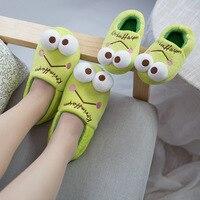 Kids Home Slipper Cute Frog Mum Children Slippers Cartoon Animal Green Slipper for Boys Girls Winter Shoes Cotton Made #28 37