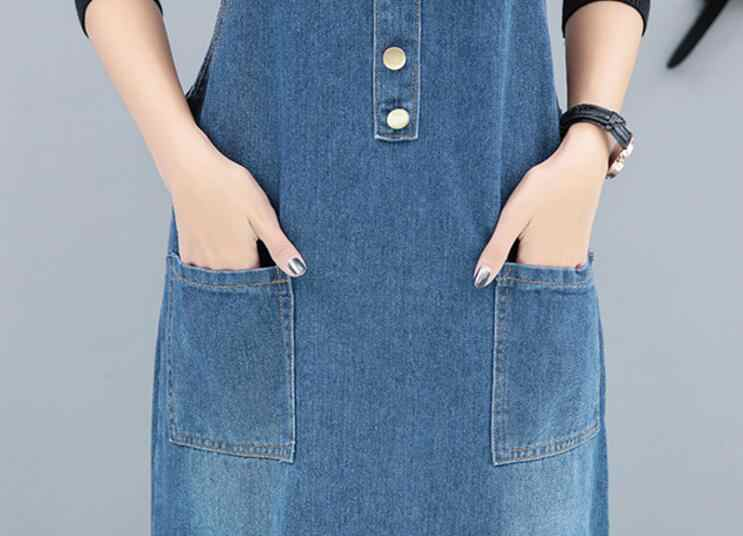 ... Vintage Summer dress Women Denim Dress Denim Sundress Girls Casual  Loose Overalls Female plus size 5XL 1b48e3e5e2ab