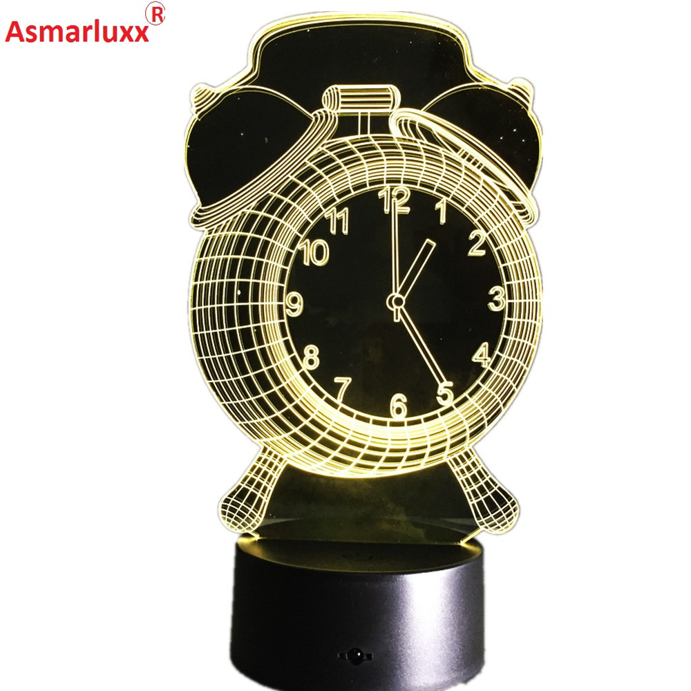 Alarm Clock Lamp 3D Visual LED Night Light For Children Friends USB Desk Lampara As Besides Light Baby Sleeping Lamp Home Decor