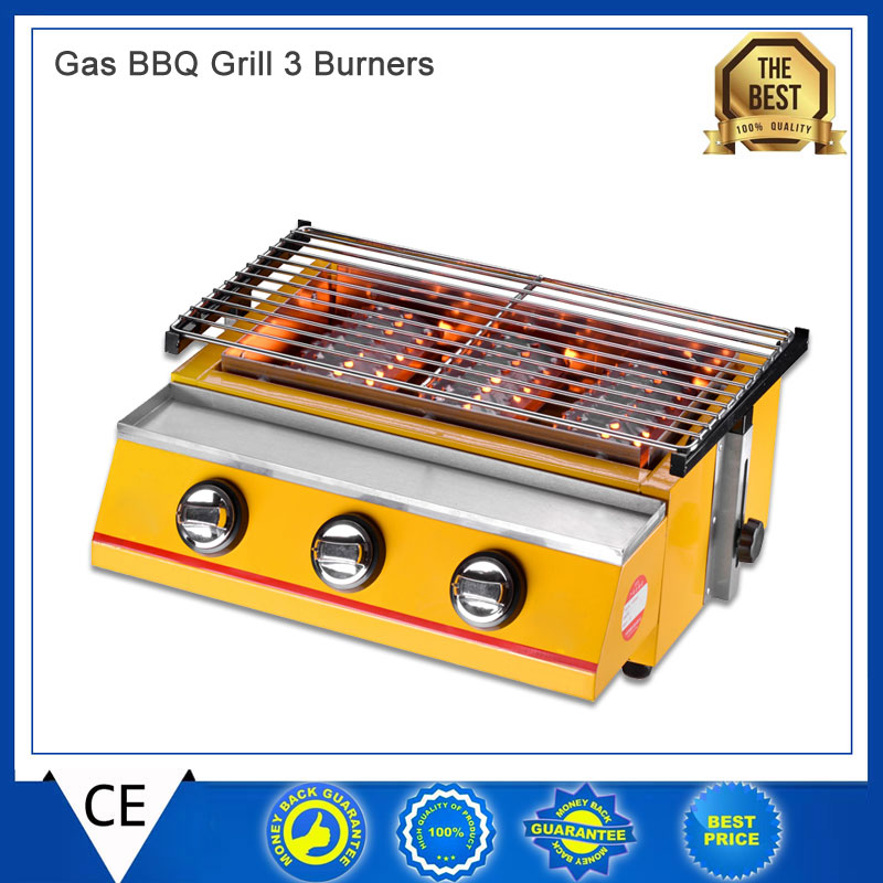 2-3 People Gas BBQ Grill 3 Burners Barbecue Stove Adjustable Height Smokeless Outdoor Picnic