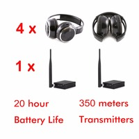 Professional Silent Disco Sound System Headphones RF Wireless headsets (4 folding Headphones + 1 Transmitters)