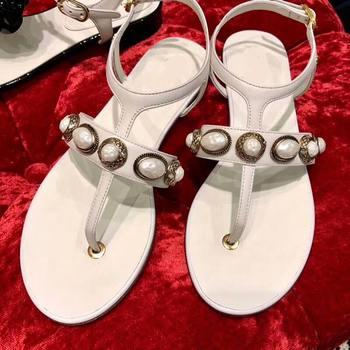 Retro Beads Stud Women Sandals White Black Red Flip Flops Summer Beach Slippers Genuine Leather Ankle Buckle Gladiator Sandals
