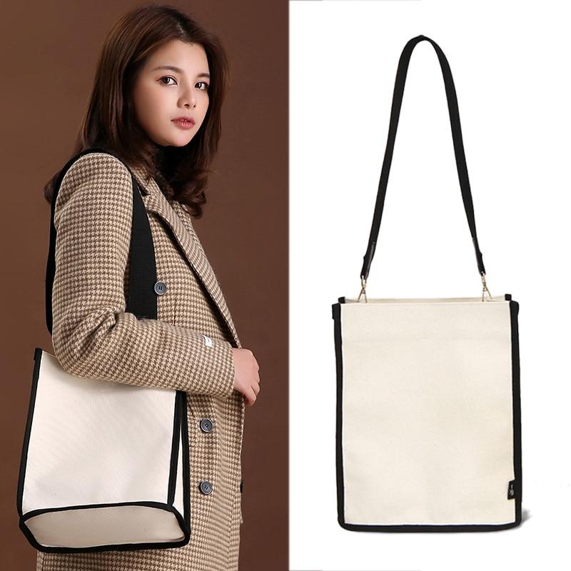Women Shoulder Bags Korean Style Canvas Wide Strap Girl Handbag Ins Fashion Large Capacity Tote Bag Women Travel Bag