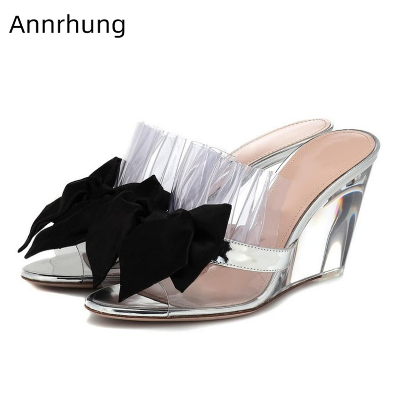 Clear PVC Ruffle Wedges Shoes For Women Transparent Heel Peep Toe Summer Shoes Sexy Black Butterfly-knot Sandals De MujerClear PVC Ruffle Wedges Shoes For Women Transparent Heel Peep Toe Summer Shoes Sexy Black Butterfly-knot Sandals De Mujer