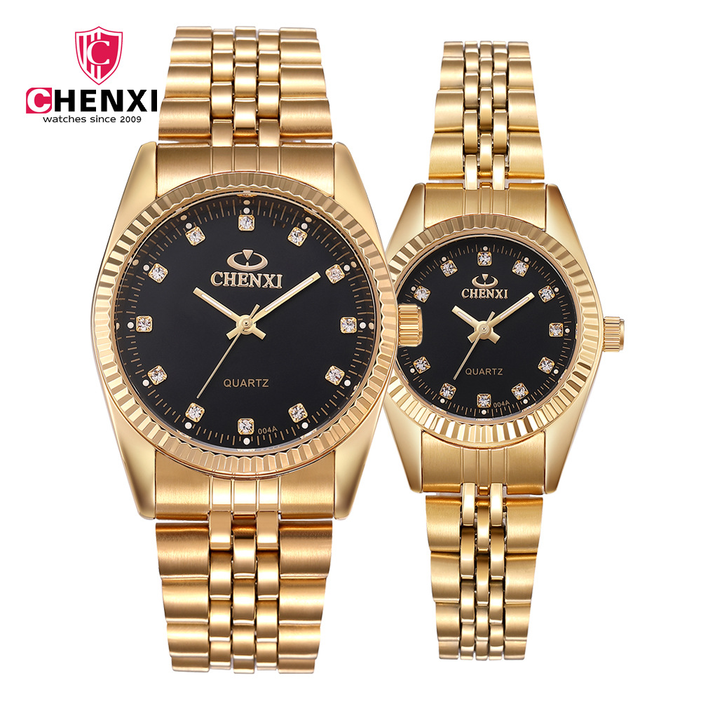 Fashion Gold Couple Watch Women Men Black Luxury Golden Stainless Steel Business Dress Lover's Wristwatch Waterproof 2 Pieces
