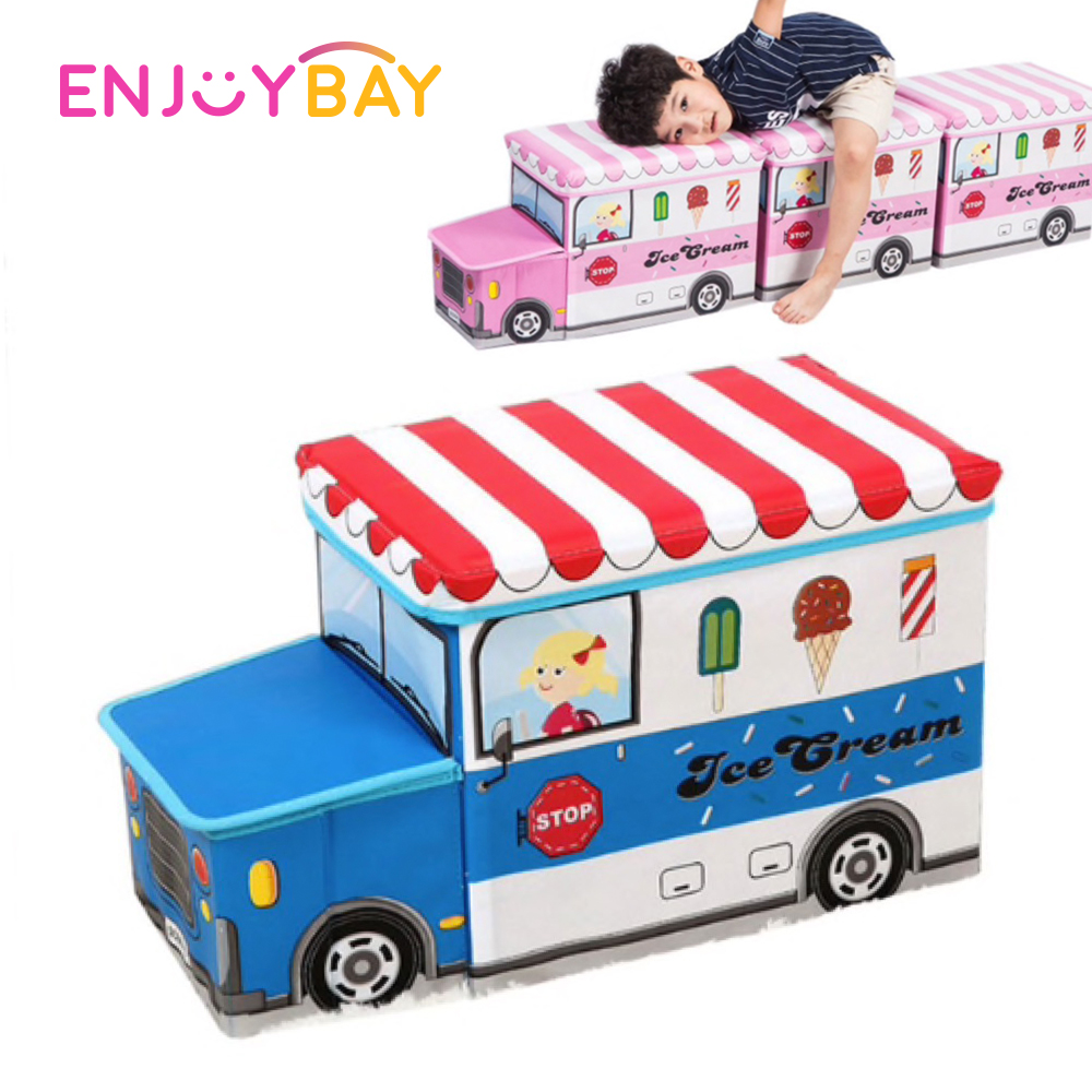 Enjoybay 2 in 1 Bus Shape Storage Box Mutifunctional Storage Chair for Baby Toys Clothes Kids Cartoon Car Toy Storage Basket