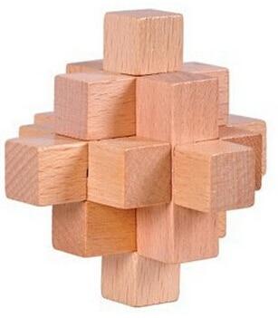 4PCS / Set Classic IQ Wooden Puzzle Brain Teaser Burr Interlocking - Puslespill - Bilde 4