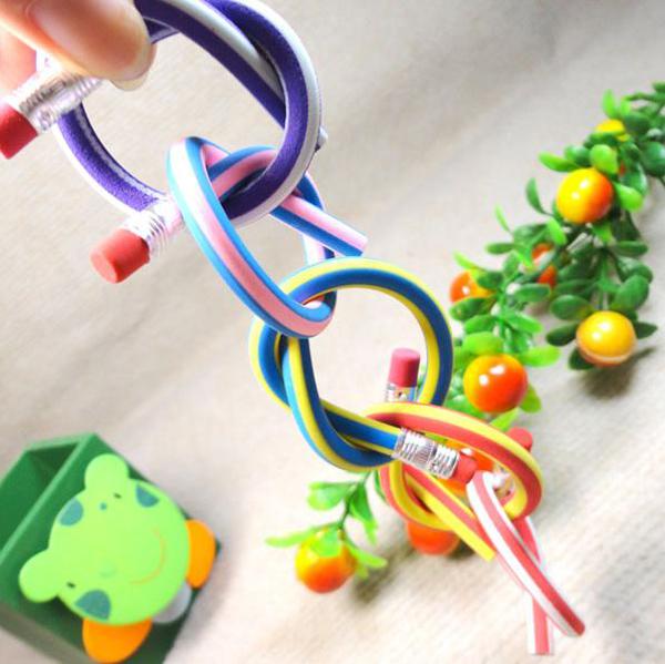 Flexible Soft Colorful Pencils with Eraser 5 pcs Set