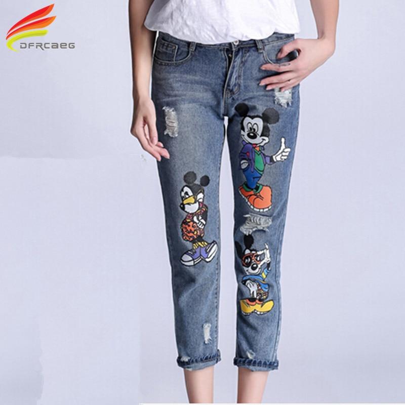 high waist pencil boyfriend jeans print cartoon woman denim pants plus size ripped. Black Bedroom Furniture Sets. Home Design Ideas