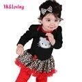 Envío gratis leopardo del bebé del mameluco recién nacido bebé vestidos para niñas lindo lace tutu dress bebé infantil de manga larga jumper rd115l