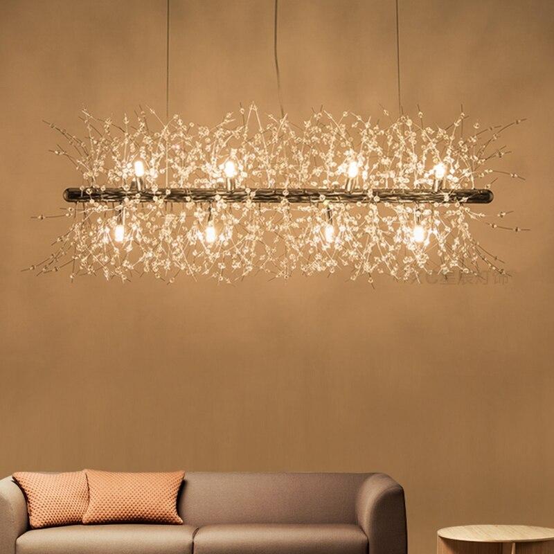 LuKLoy Dandelion LED Pendant Lamp Kitchen Dining Room Hanging Light Post Modern Crystal Chandelier Shop Loft Lighting Fixture