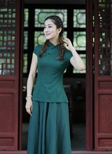 High Fashion Green Chinese Traditionary Style Women's Girl Casual Shirt Blouse Tops S M L XL XXL 3XL 2518-2