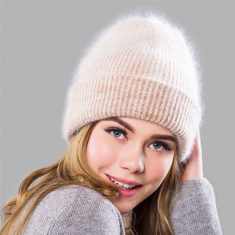 fe6b0fcd95f Fashion Winter Wool Hat for Women Rabbit Cashmere Knitted Beanies Cap Thick  Warm Vogue Ladies Angora