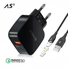 A. S Quick Charge 3,0 USB зарядник Быстрая зарядка 18 Вт ЕС стены зарядное устройство адаптер Магнитный кабель для мобильного телефона Комплект samsung Xiaomi